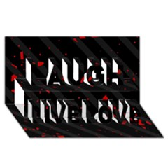 Black and red Laugh Live Love 3D Greeting Card (8x4)