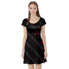 Black and red Short Sleeve Skater Dress