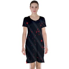 Black and red Short Sleeve Nightdress