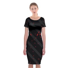 Black And Red Classic Short Sleeve Midi Dress