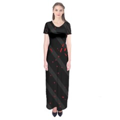 Black and red Short Sleeve Maxi Dress
