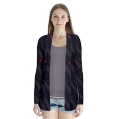 Black and red Drape Collar Cardigan