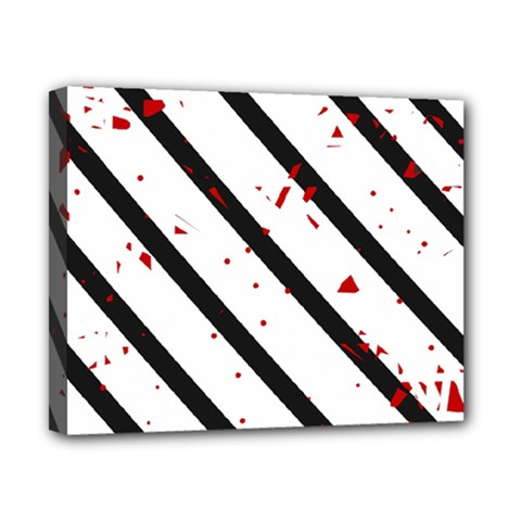Elegant black, red and white lines Canvas 10  x 8