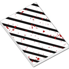 Elegant black, red and white lines Large Memo Pads