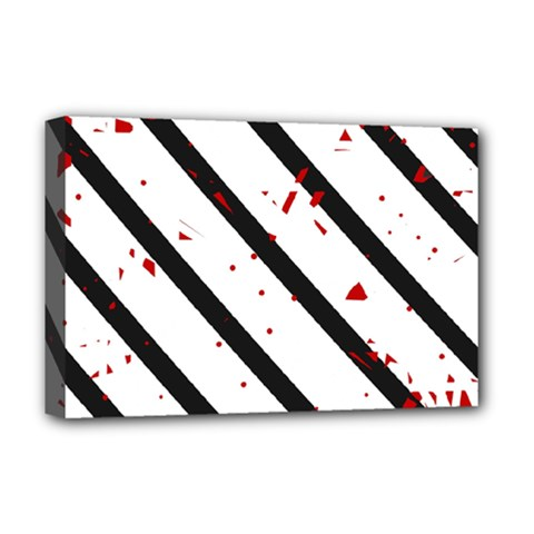 Elegant black, red and white lines Deluxe Canvas 18  x 12