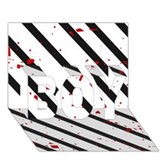 Elegant black, red and white lines BOY 3D Greeting Card (7x5)