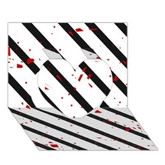 Elegant black, red and white lines Heart 3D Greeting Card (7x5)