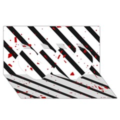Elegant black, red and white lines Twin Hearts 3D Greeting Card (8x4)