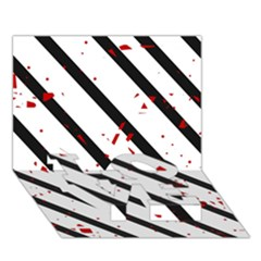 Elegant black, red and white lines LOVE Bottom 3D Greeting Card (7x5)