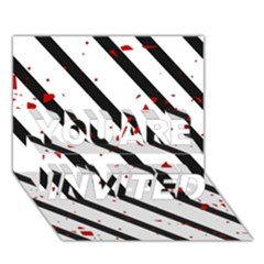 Elegant black, red and white lines YOU ARE INVITED 3D Greeting Card (7x5)