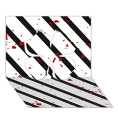 Elegant black, red and white lines Clover 3D Greeting Card (7x5)
