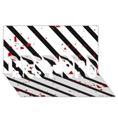 Elegant black, red and white lines BEST BRO 3D Greeting Card (8x4)