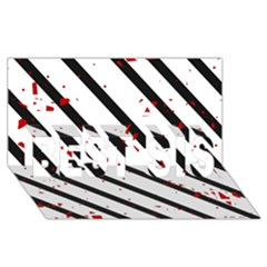 Elegant black, red and white lines BEST SIS 3D Greeting Card (8x4)