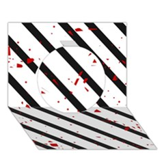 Elegant black, red and white lines Circle 3D Greeting Card (7x5)