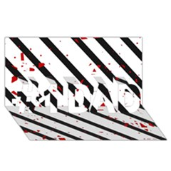 Elegant black, red and white lines #1 DAD 3D Greeting Card (8x4)