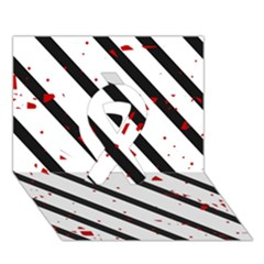 Elegant black, red and white lines Ribbon 3D Greeting Card (7x5)
