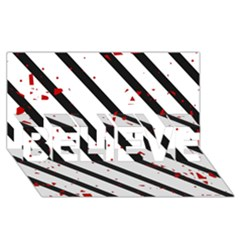 Elegant black, red and white lines BELIEVE 3D Greeting Card (8x4)