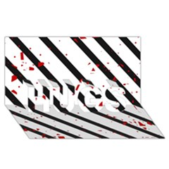 Elegant black, red and white lines HUGS 3D Greeting Card (8x4)