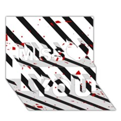 Elegant black, red and white lines Miss You 3D Greeting Card (7x5)