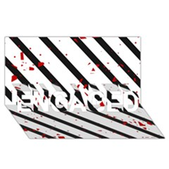 Elegant black, red and white lines ENGAGED 3D Greeting Card (8x4)