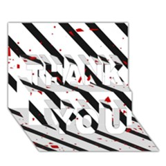 Elegant Black, Red And White Lines Thank You 3d Greeting Card (7x5)