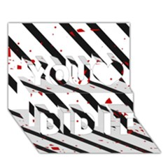 Elegant black, red and white lines You Did It 3D Greeting Card (7x5)