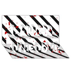 Elegant black, red and white lines Laugh Live Love 3D Greeting Card (8x4)