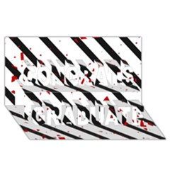 Elegant black, red and white lines Congrats Graduate 3D Greeting Card (8x4)