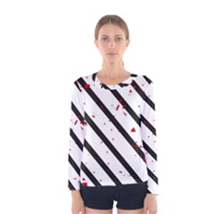 Elegant black, red and white lines Women s Long Sleeve Tee