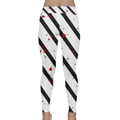 Elegant black, red and white lines Yoga Leggings