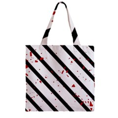 Elegant black, red and white lines Zipper Grocery Tote Bag