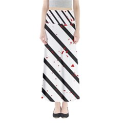 Elegant black, red and white lines Maxi Skirts