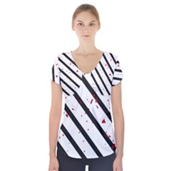 Elegant black, red and white lines Short Sleeve Front Detail Top