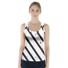 Elegant black, red and white lines Racer Back Sports Top