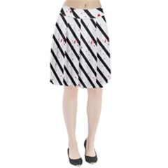 Elegant black, red and white lines Pleated Skirt