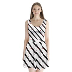 Elegant black, red and white lines Split Back Mini Dress