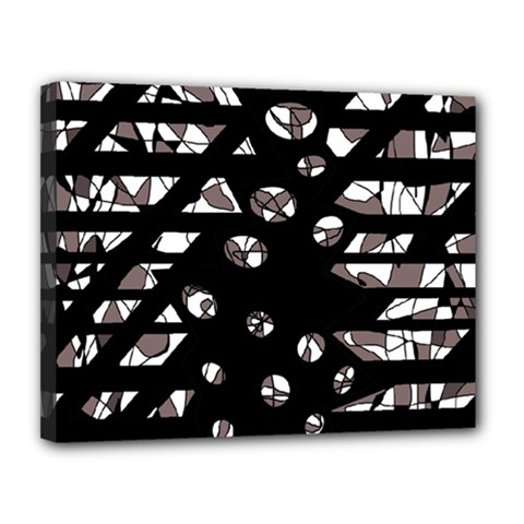 Gray abstract design Canvas 14  x 11