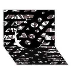 Gray abstract design Circle 3D Greeting Card (7x5)