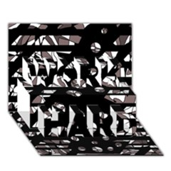 Gray abstract design WORK HARD 3D Greeting Card (7x5)