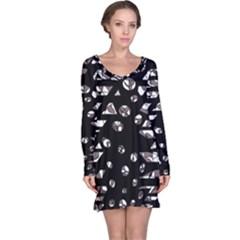 Gray abstract design Long Sleeve Nightdress