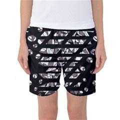 Gray abstract design Women s Basketball Shorts