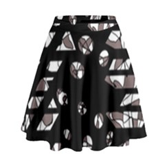 Gray abstract design High Waist Skirt