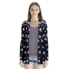 Gray Abstract Design Drape Collar Cardigan