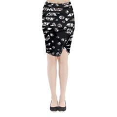 Gray Abstract Design Midi Wrap Pencil Skirt