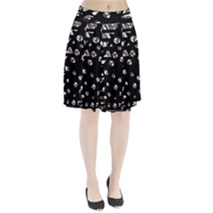 Gray abstract design Pleated Skirt