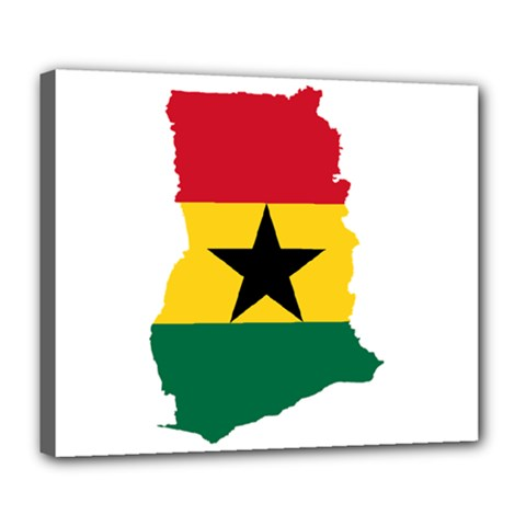 Flag Map of Ghana Deluxe Canvas 24  x 20
