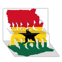 Flag Map of Ghana Miss You 3D Greeting Card (7x5)