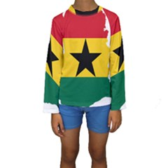 Flag Map of Ghana Kid s Long Sleeve Swimwear