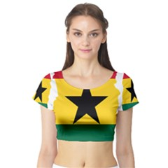 Flag Map of Ghana Short Sleeve Crop Top (Tight Fit)