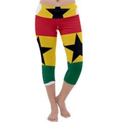 Flag Map of Ghana Capri Yoga Leggings